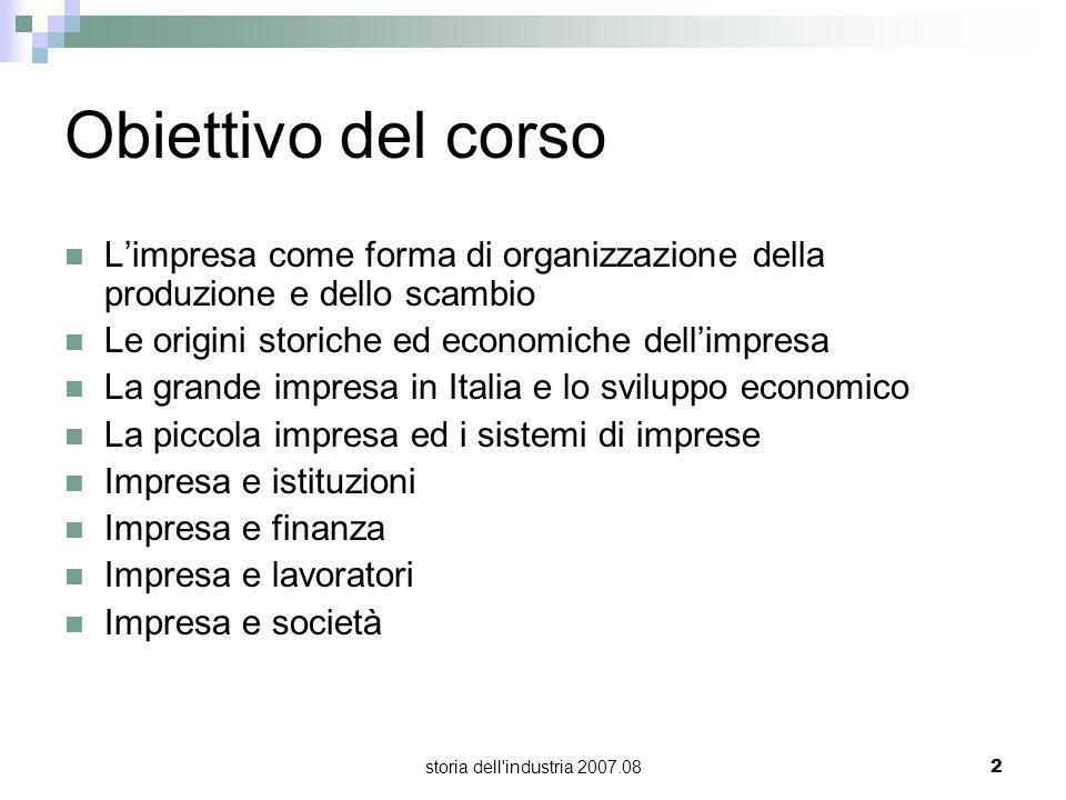 storia dell'industria 2007.082 Obiettivo del corso Limpresa come forma di organizzazione della produzione e dello scambio Le origini storiche ed econo
