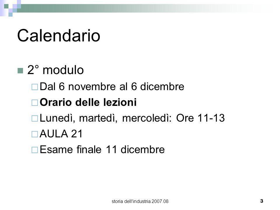 storia dell'industria 2007.083 Calendario 2° modulo Dal 6 novembre al 6 dicembre Orario delle lezioni Lunedì, martedì, mercoledì: Ore 11-13 AULA 21 Es