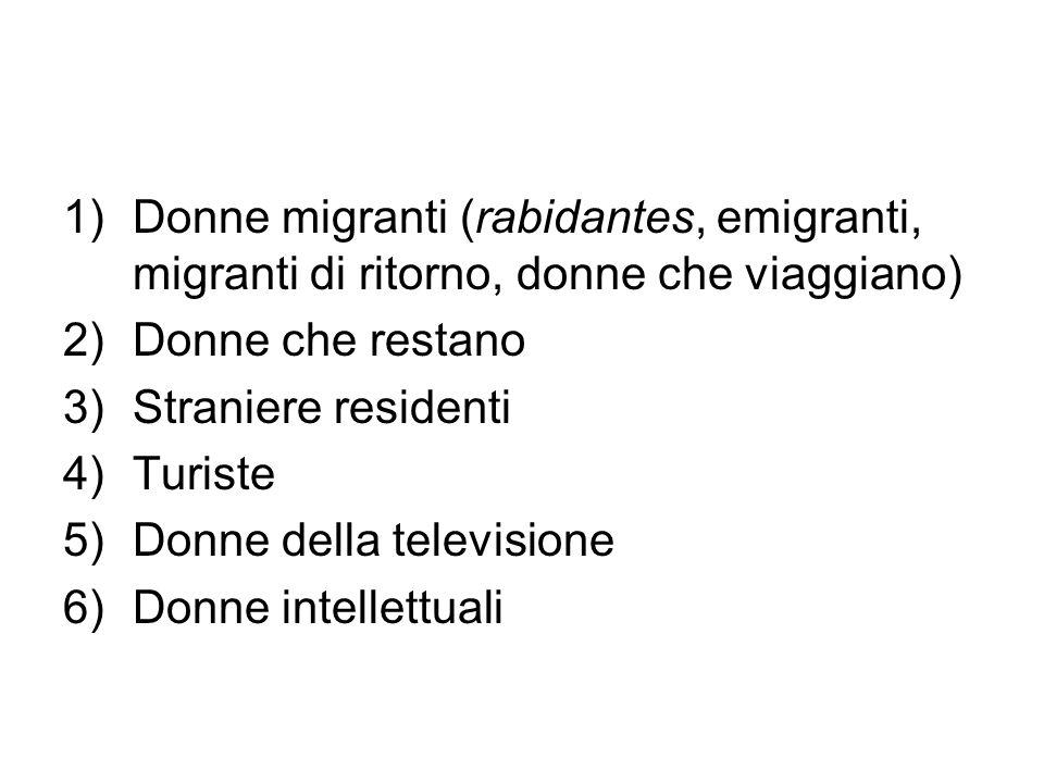 1)Donne migranti (rabidantes, emigranti, migranti di ritorno, donne che viaggiano) 2)Donne che restano 3)Straniere residenti 4)Turiste 5)Donne della t