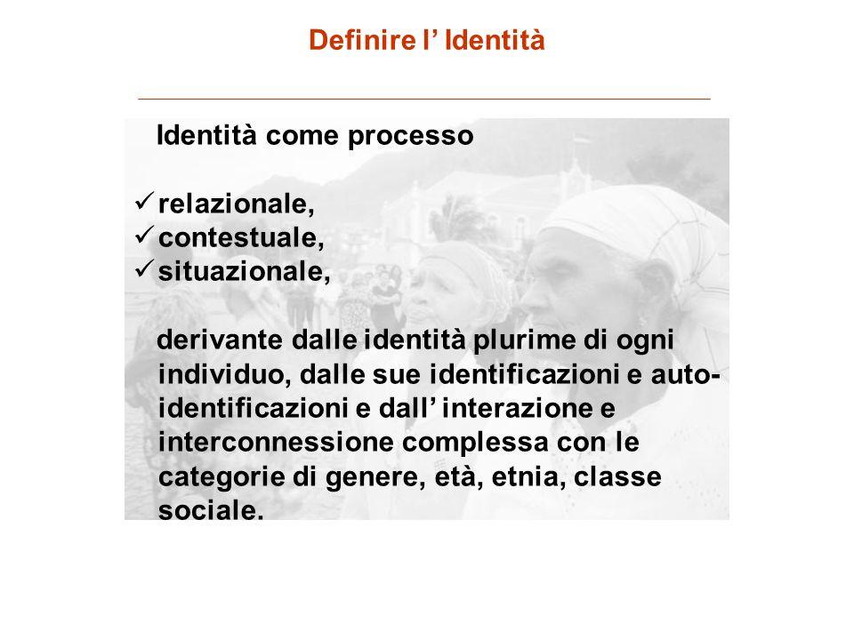 Identità come processo relazionale, contestuale, situazionale, derivante dalle identità plurime di ogni individuo, dalle sue identificazioni e auto- i
