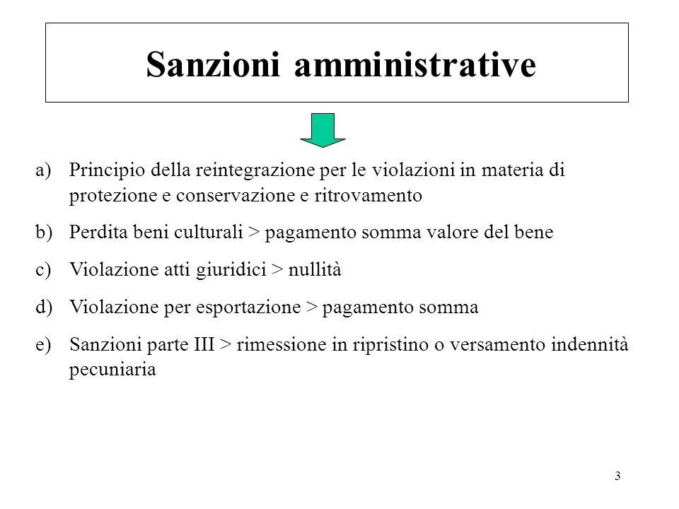 3 Sanzioni amministrative a)Principio della reintegrazione per le violazioni in materia di protezione e conservazione e ritrovamento b)Perdita beni cu
