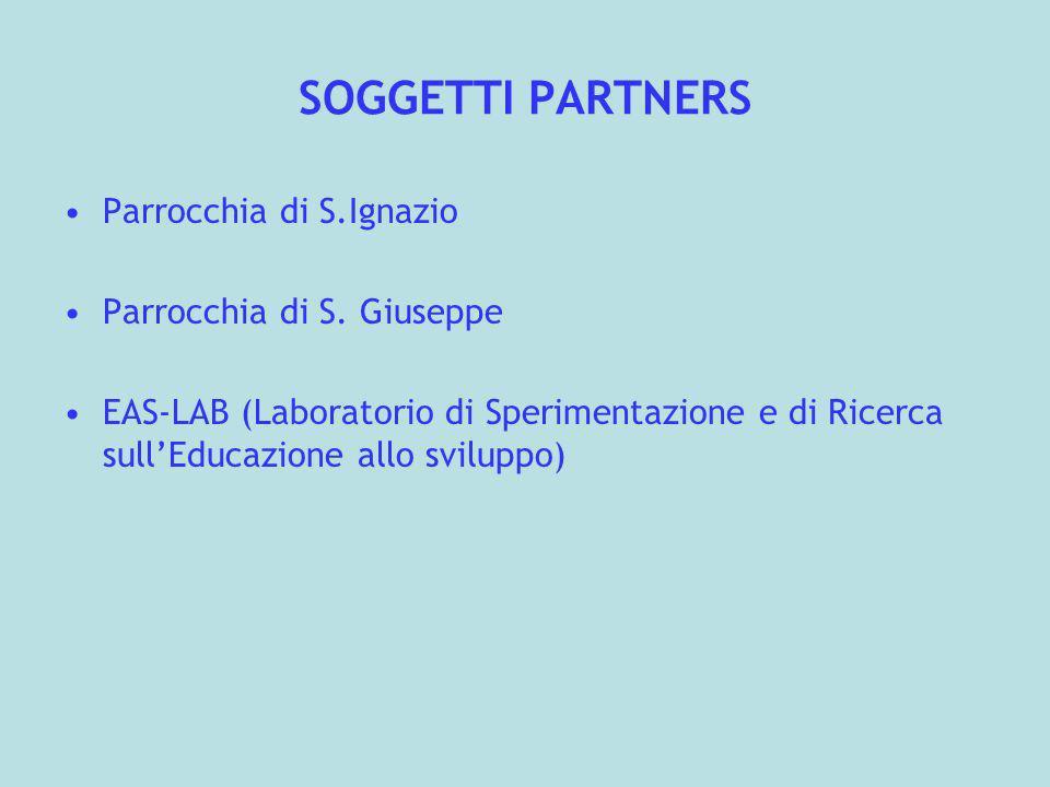 SOGGETTI PARTNERS Parrocchia di S.Ignazio Parrocchia di S. Giuseppe EAS-LAB (Laboratorio di Sperimentazione e di Ricerca sullEducazione allo sviluppo)