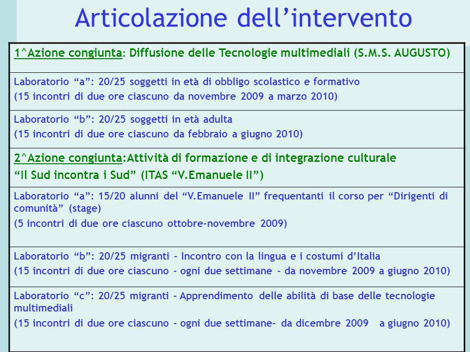 Articolazione dellintervento 1^Azione congiunta : Diffusione delle Tecnologie multimediali (S.M.S. AUGUSTO) Laboratorio a: 20/25 soggetti in età di ob