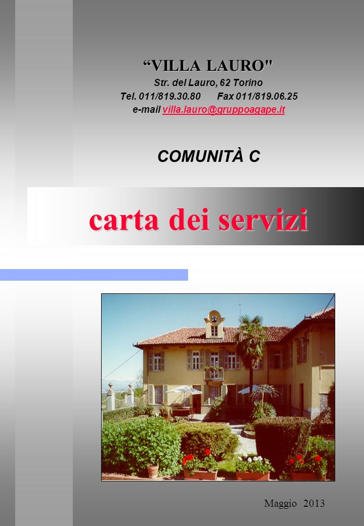 carta dei servizi carta dei servizi VILLA LAURO