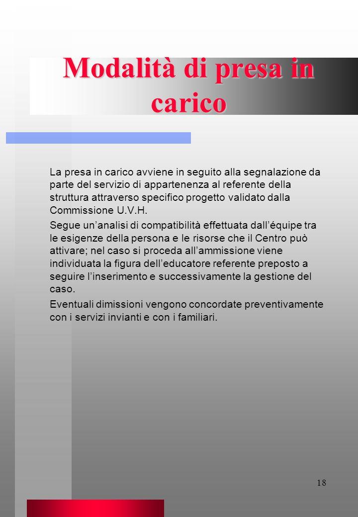 18 Modalità di presa in carico La presa in carico avviene in seguito alla segnalazione da parte del servizio di appartenenza al referente della strutt