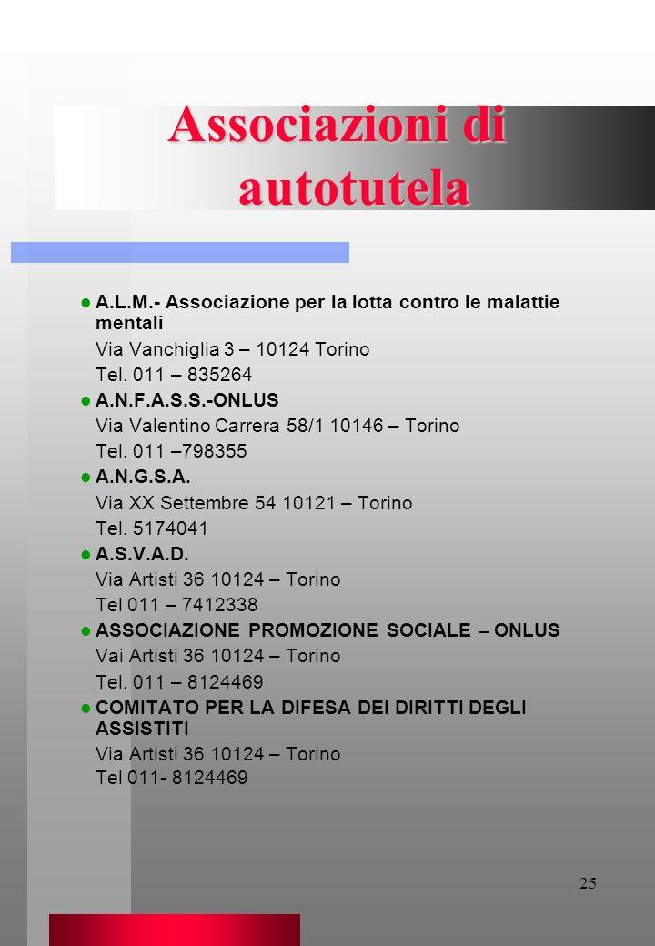 25 Associazioni di autotutela A.L.M.- Associazione per la lotta contro le malattie mentali Via Vanchiglia 3 – 10124 Torino Tel. 011 – 835264 A.N.F.A.S
