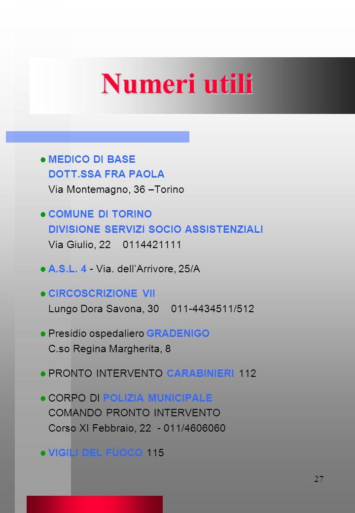 27 Numeri utili MEDICO DI BASE DOTT.SSA FRA PAOLA Via Montemagno, 36 –Torino COMUNE DI TORINO DIVISIONE SERVIZI SOCIO ASSISTENZIALI Via Giulio, 22 011