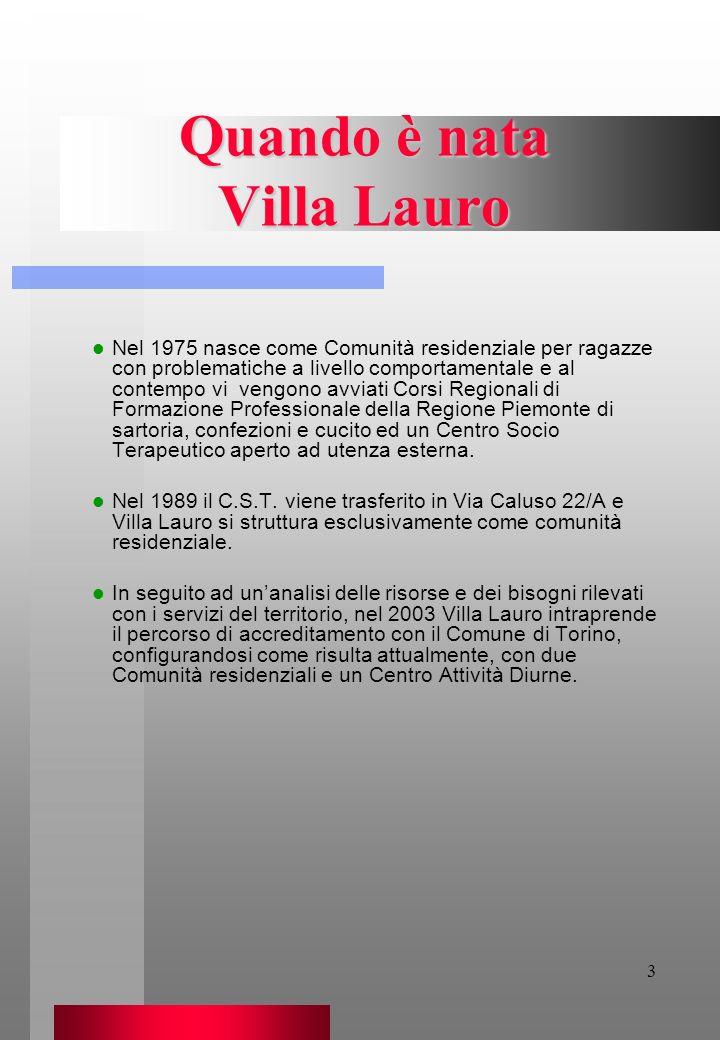3 Quando è nata Villa Lauro Nel 1975 nasce come Comunità residenziale per ragazze con problematiche a livello comportamentale e al contempo vi vengono
