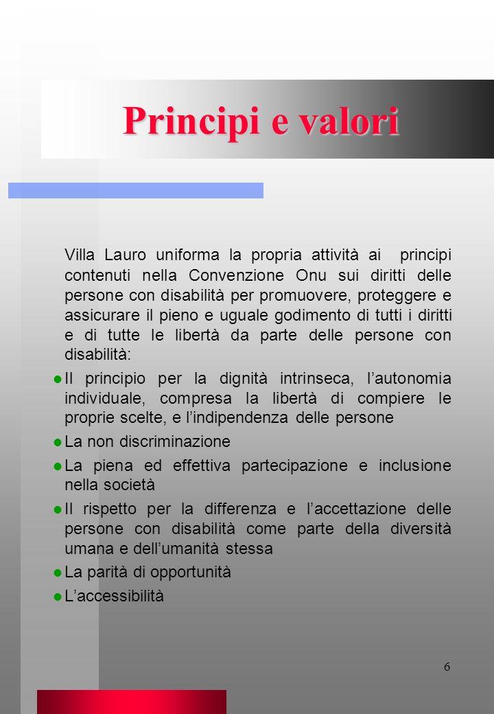 6 Principi e valori Villa Lauro uniforma la propria attività ai principi contenuti nella Convenzione Onu sui diritti delle persone con disabilità per