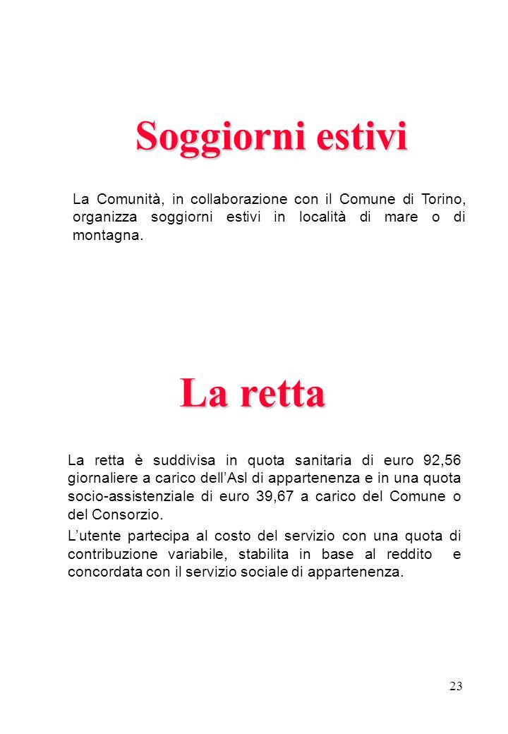23 La retta La retta è suddivisa in quota sanitaria di euro 92,56 giornaliere a carico dellAsl di appartenenza e in una quota socio-assistenziale di e