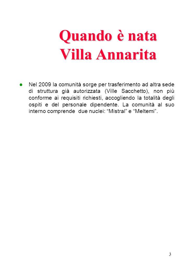 3 Quando è nata Villa Annarita Nel 2009 la comunità sorge per trasferimento ad altra sede di struttura già autorizzata (Ville Sacchetto), non più conf