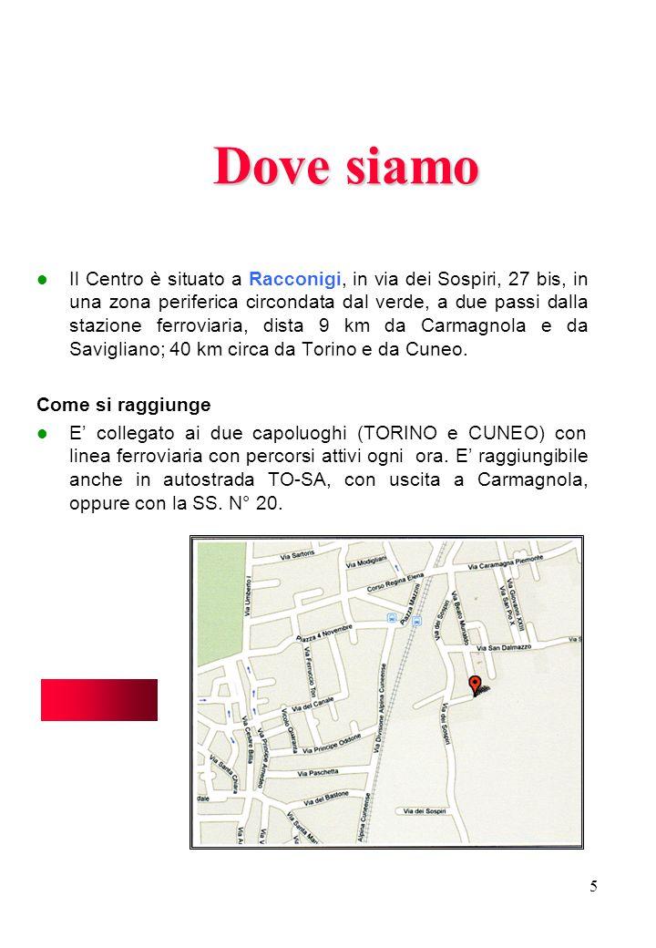 5 Dove siamo Il Centro è situato a Racconigi, in via dei Sospiri, 27 bis, in una zona periferica circondata dal verde, a due passi dalla stazione ferr