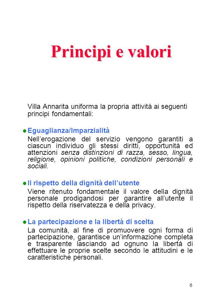 6 Principi e valori Villa Annarita uniforma la propria attività ai seguenti principi fondamentali: Eguaglianza/Imparzialità Nellerogazione del servizi
