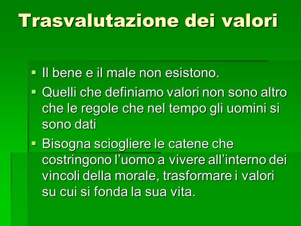 Trasvalutazione dei valori Il bene e il male non esistono.