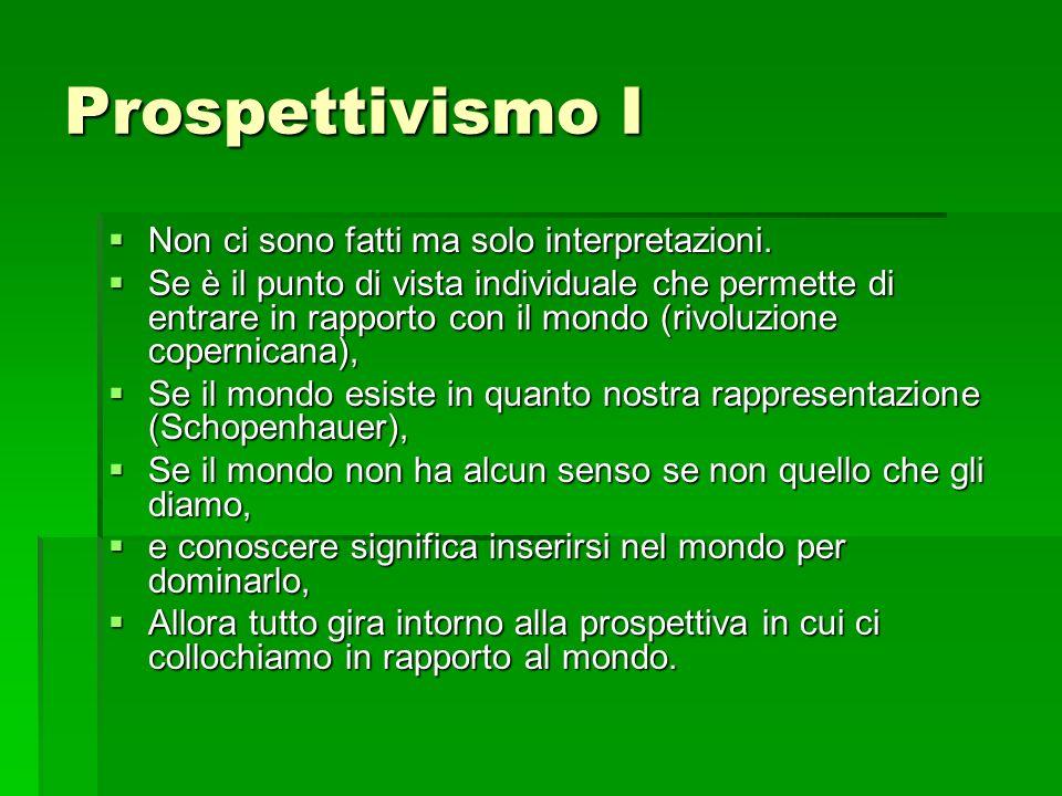 Prospettivismo I Non ci sono fatti ma solo interpretazioni. Non ci sono fatti ma solo interpretazioni. Se è il punto di vista individuale che permette