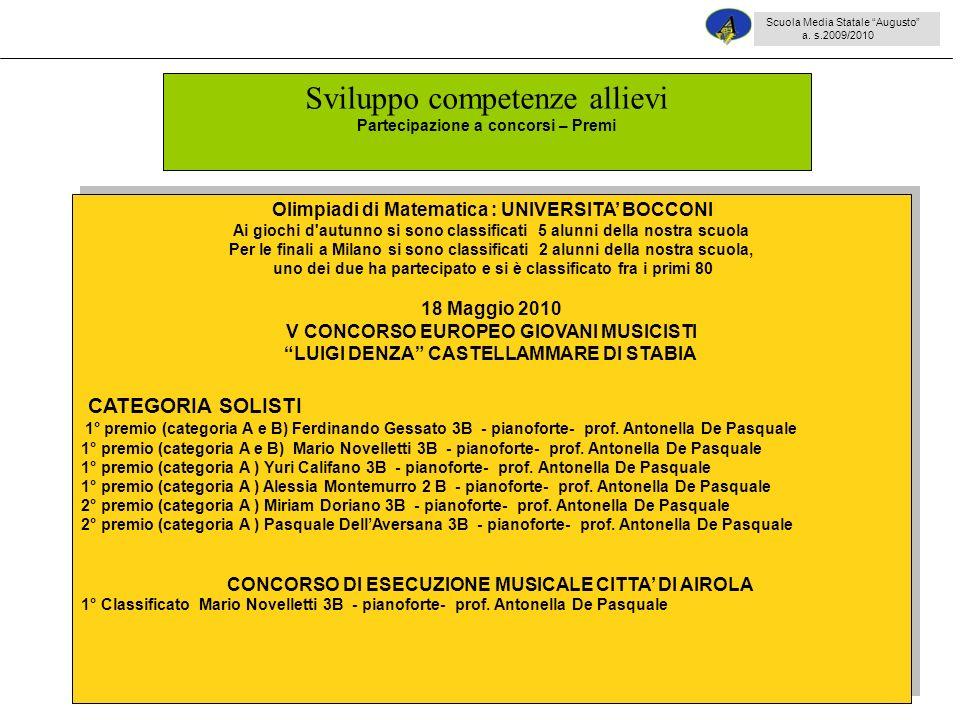 43 Olimpiadi di Matematica : UNIVERSITA BOCCONI Ai giochi d autunno si sono classificati 5 alunni della nostra scuola Per le finali a Milano si sono classificati 2 alunni della nostra scuola, uno dei due ha partecipato e si è classificato fra i primi 80 18 Maggio 2010 V CONCORSO EUROPEO GIOVANI MUSICISTI LUIGI DENZA CASTELLAMMARE DI STABIA CATEGORIA SOLISTI 1° premio (categoria A e B) Ferdinando Gessato 3B - pianoforte- prof.