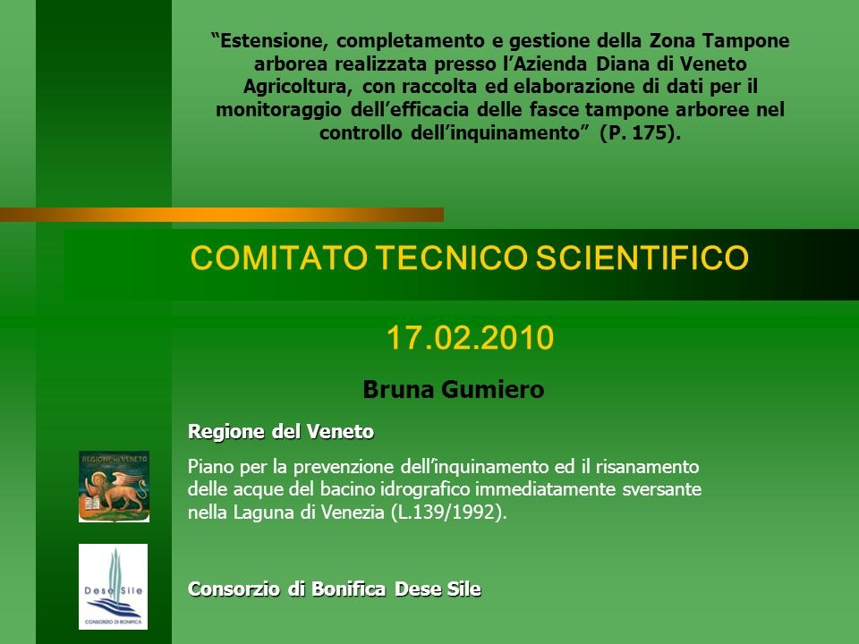 COMITATO TECNICO SCIENTIFICO 17.02.2010 Bruna Gumiero Consorzio di Bonifica Dese Sile Regione del Veneto Piano per la prevenzione dellinquinamento ed