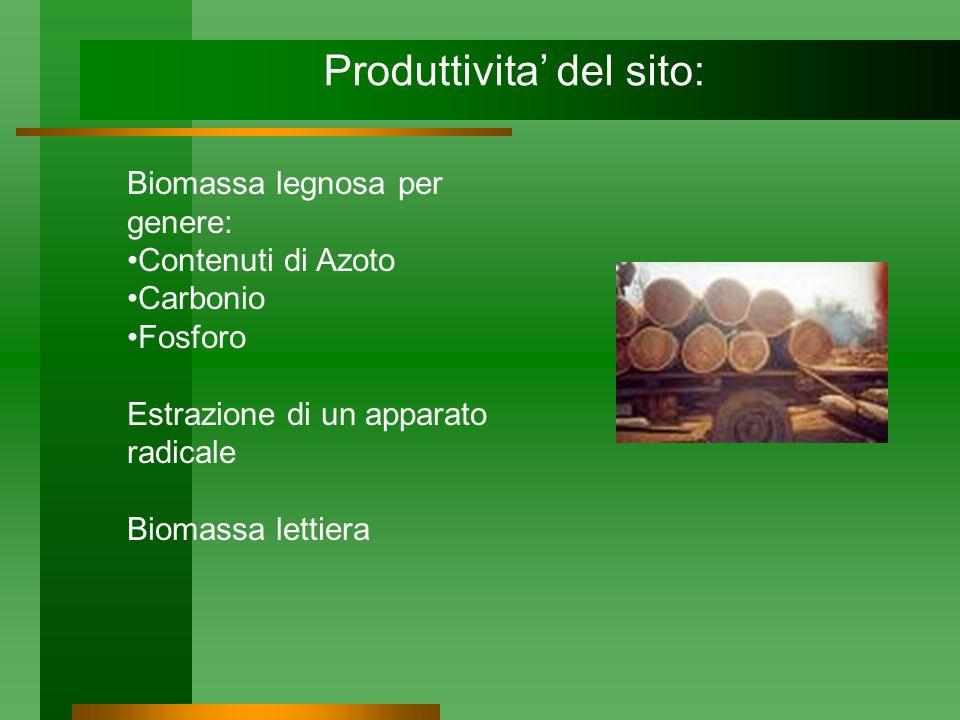 Produttivita del sito: Biomassa legnosa per genere: Contenuti di Azoto Carbonio Fosforo Estrazione di un apparato radicale Biomassa lettiera