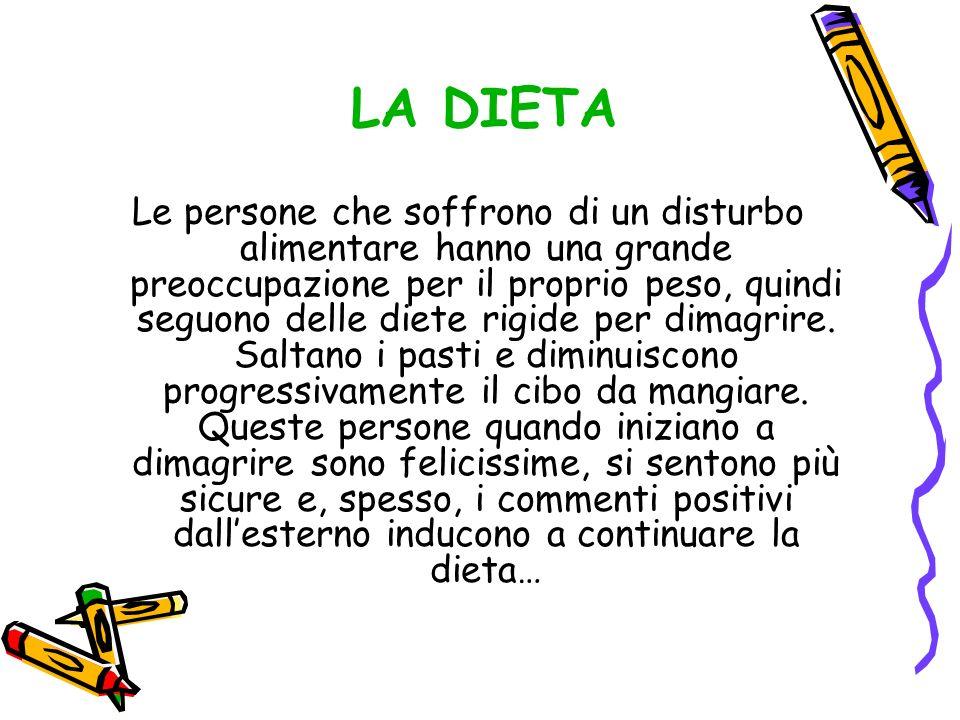 Le persone che soffrono di un disturbo alimentare hanno una grande preoccupazione per il proprio peso, quindi seguono delle diete rigide per dimagrire