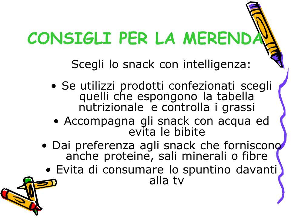 CONSIGLI PER LA MERENDA Scegli lo snack con intelligenza: Se utilizzi prodotti confezionati scegli quelli che espongono la tabella nutrizionale e cont