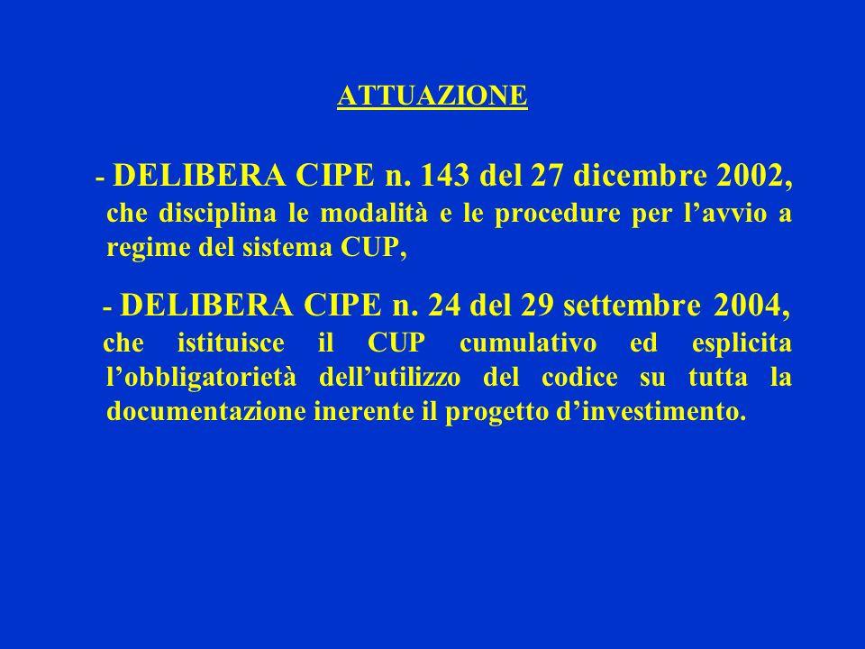 ATTUAZIONE - DELIBERA CIPE n. 143 del 27 dicembre 2002, che disciplina le modalità e le procedure per lavvio a regime del sistema CUP, - DELIBERA CIPE