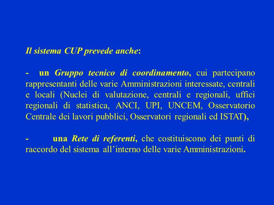 Il sistema CUP prevede anche: - un Gruppo tecnico di coordinamento, cui partecipano rappresentanti delle varie Amministrazioni interessate, centrali e