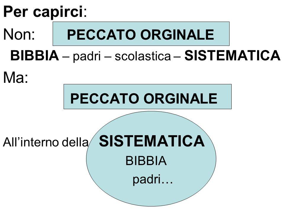 Per capirci: Non: PECCATO ORGINALE BIBBIA – padri – scolastica – SISTEMATICA Ma: PECCATO ORGINALE Allinterno della SISTEMATICA BIBBIA padri…