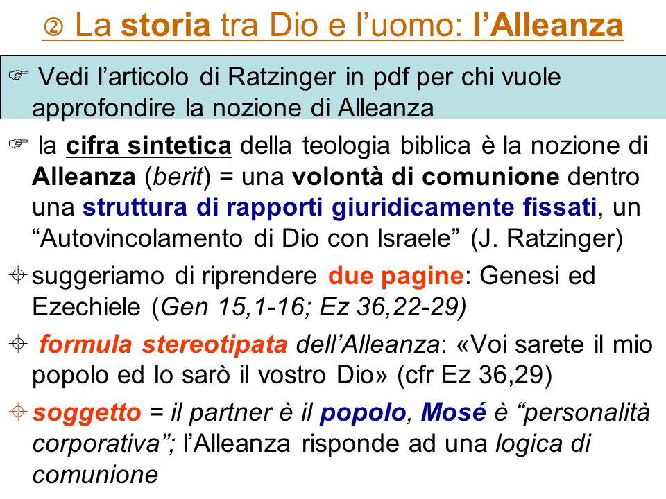 La storia tra Dio e luomo: lAlleanza Vedi larticolo di Ratzinger in pdf per chi vuole approfondire la nozione di Alleanza la cifra sintetica della teo