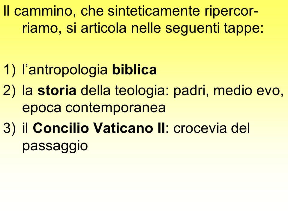 Il cammino, che sinteticamente ripercor- riamo, si articola nelle seguenti tappe: 1)lantropologia biblica 2)la storia della teologia: padri, medio evo
