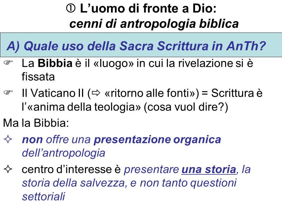 Luomo di fronte a Dio: cenni di antropologia biblica A) Quale uso della Sacra Scrittura in AnTh? La Bibbia è il «luogo» in cui la rivelazione si è fis