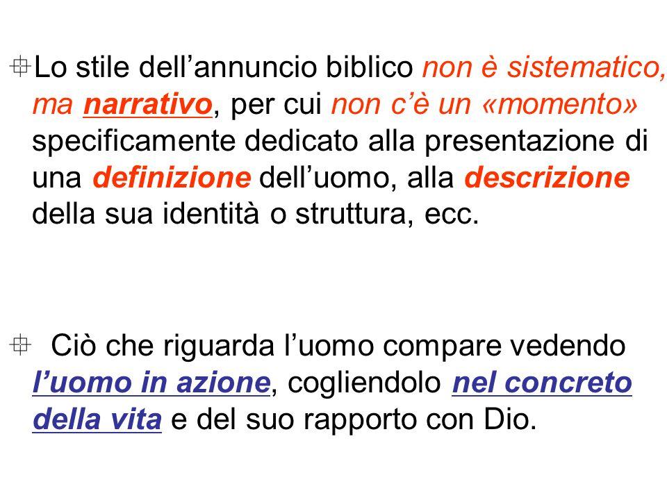 Lo stile dellannuncio biblico non è sistematico, ma narrativo, per cui non cè un «momento» specificamente dedicato alla presentazione di una definizio