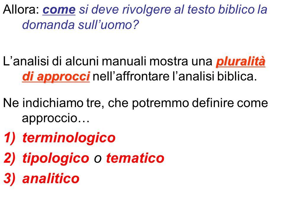 Allora: come si deve rivolgere al testo biblico la domanda sulluomo? pluralità di approcci Lanalisi di alcuni manuali mostra una pluralità di approcci