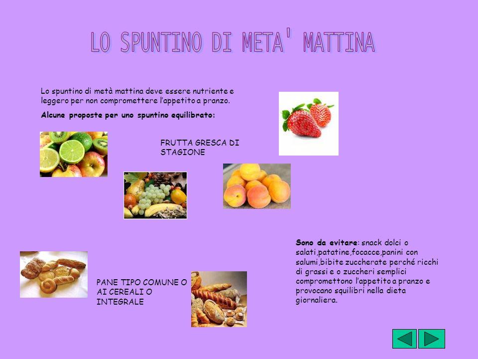 Lo spuntino di metà mattina deve essere nutriente e leggero per non compromettere lappetito a pranzo. Alcune proposte per uno spuntino equilibrato: FR