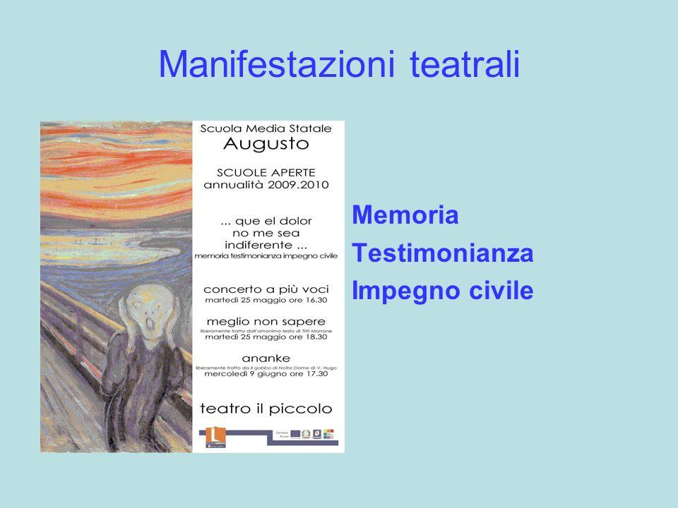 Manifestazioni teatrali Memoria Testimonianza Impegno civile