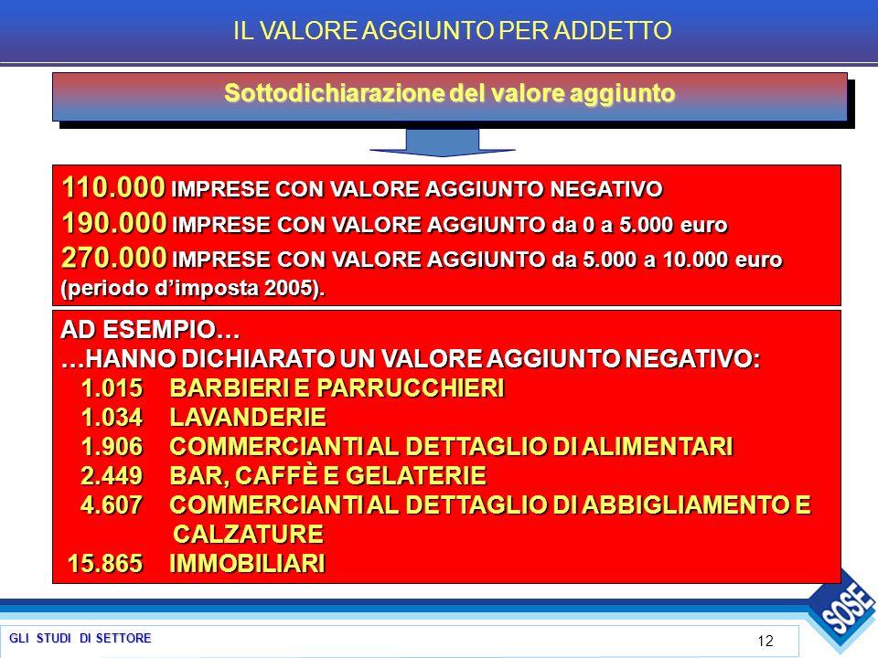 GLI STUDI DI SETTORE 12 Sottodichiarazione del valore aggiunto 110.000 IMPRESE CON VALORE AGGIUNTO NEGATIVO 190.000 IMPRESE CON VALORE AGGIUNTO da 0 a 5.000 euro 270.000 IMPRESE CON VALORE AGGIUNTO da 5.000 a 10.000 euro (periodo dimposta 2005).