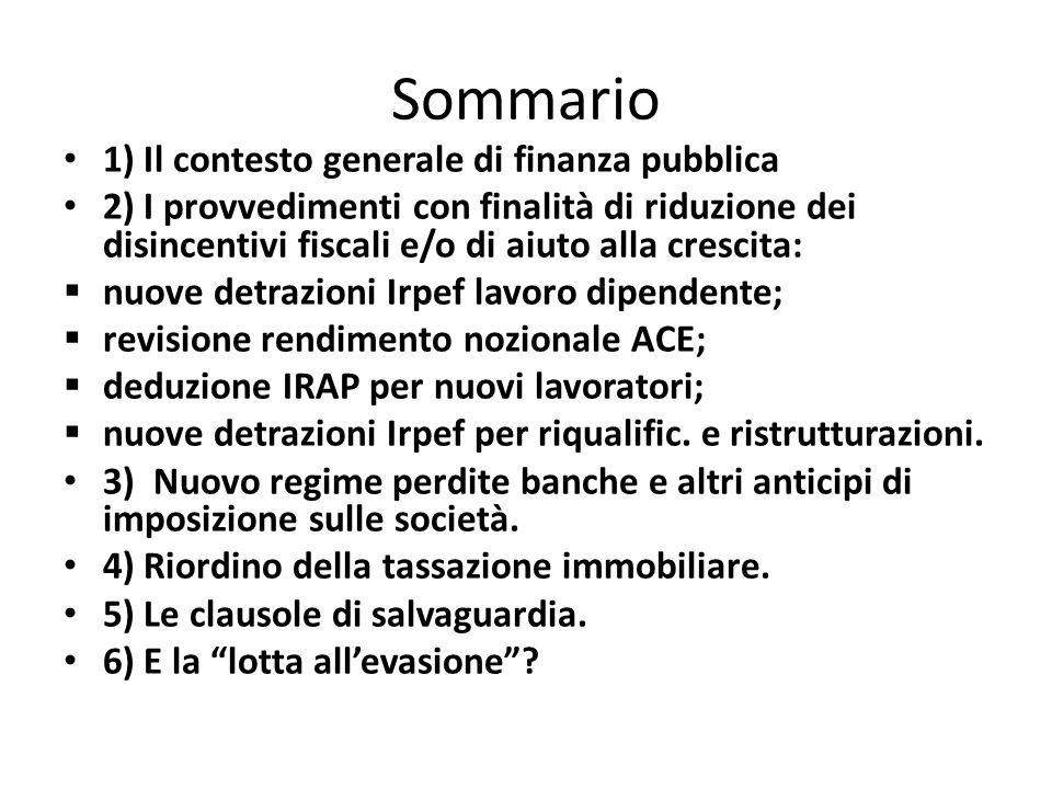 Sommario 1) Il contesto generale di finanza pubblica 2) I provvedimenti con finalità di riduzione dei disincentivi fiscali e/o di aiuto alla crescita: