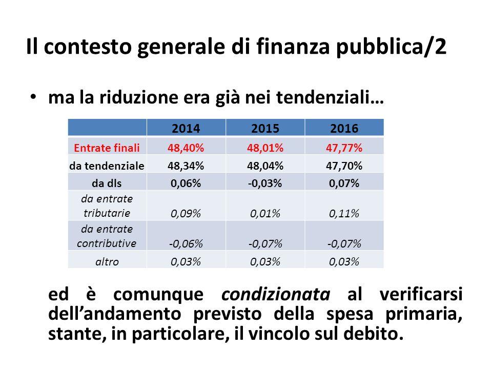 Il contesto generale di finanza pubblica/2 ma la riduzione era già nei tendenziali… ed è comunque condizionata al verificarsi dellandamento previsto della spesa primaria, stante, in particolare, il vincolo sul debito.