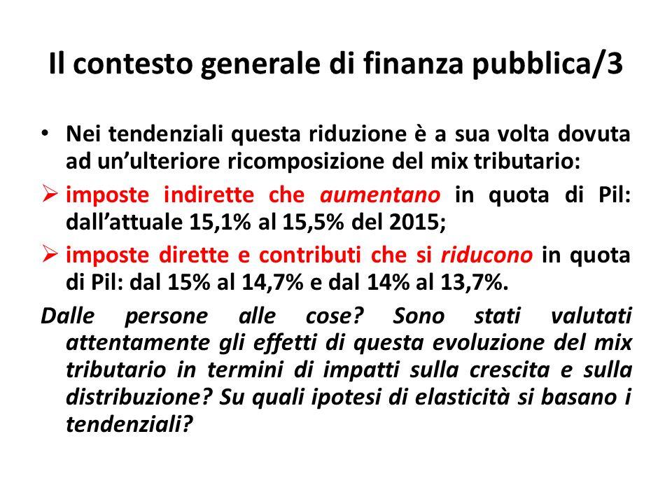 Il contesto generale di finanza pubblica/3 Nei tendenziali questa riduzione è a sua volta dovuta ad unulteriore ricomposizione del mix tributario: imp