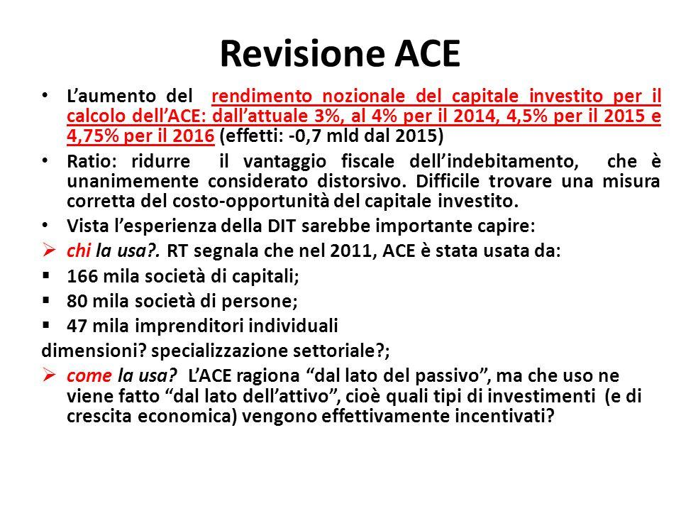 Revisione ACE Laumento del rendimento nozionale del capitale investito per il calcolo dellACE: dallattuale 3%, al 4% per il 2014, 4,5% per il 2015 e 4,75% per il 2016 (effetti: -0,7 mld dal 2015) Ratio: ridurre il vantaggio fiscale dellindebitamento, che è unanimemente considerato distorsivo.