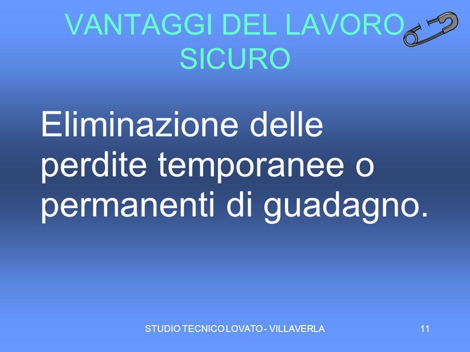 STUDIO TECNICO LOVATO - VILLAVERLA11 VANTAGGI DEL LAVORO SICURO Eliminazione delle perdite temporanee o permanenti di guadagno.