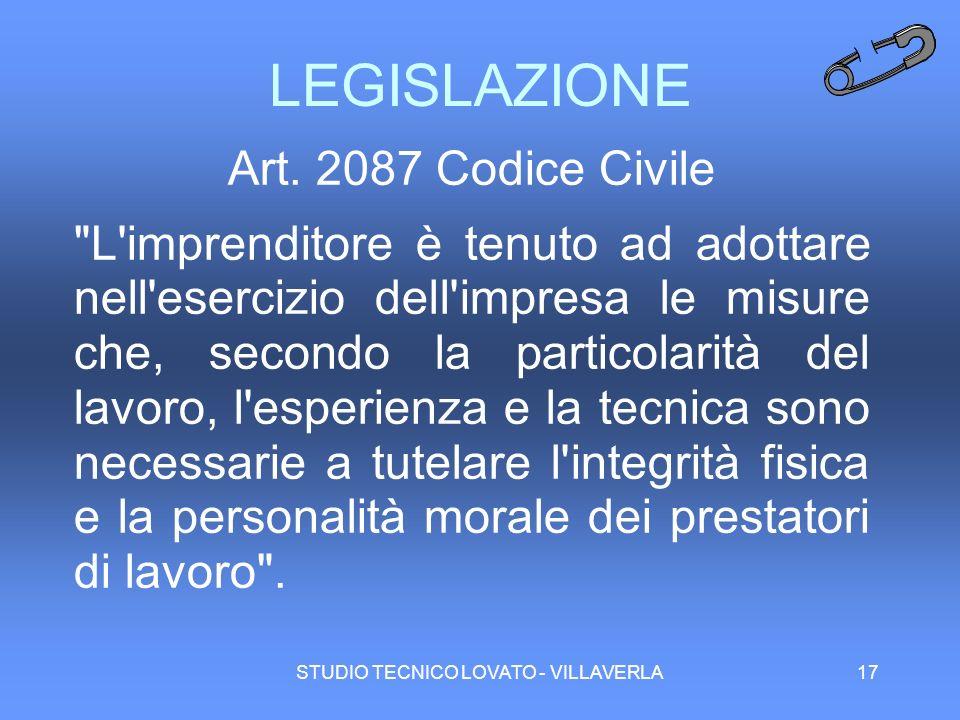 STUDIO TECNICO LOVATO - VILLAVERLA17 LEGISLAZIONE Art. 2087 Codice Civile