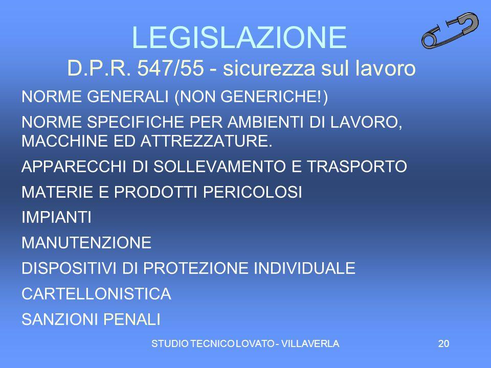 STUDIO TECNICO LOVATO - VILLAVERLA20 LEGISLAZIONE D.P.R. 547/55 - sicurezza sul lavoro NORME GENERALI (NON GENERICHE!) NORME SPECIFICHE PER AMBIENTI D
