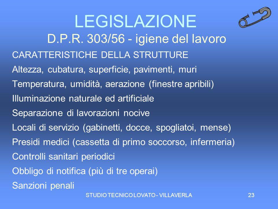 STUDIO TECNICO LOVATO - VILLAVERLA23 LEGISLAZIONE D.P.R. 303/56 - igiene del lavoro CARATTERISTICHE DELLA STRUTTURE Altezza, cubatura, superficie, pav