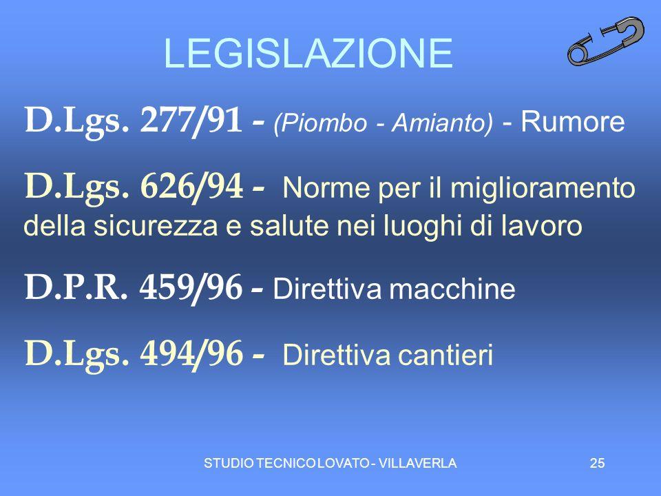 STUDIO TECNICO LOVATO - VILLAVERLA25 LEGISLAZIONE D.Lgs. 277/91 - (Piombo - Amianto) - Rumore D.Lgs. 626/94 - Norme per il miglioramento della sicurez