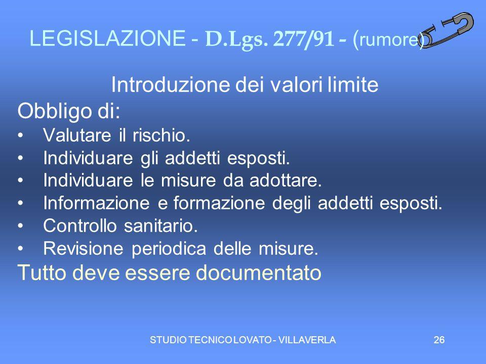 STUDIO TECNICO LOVATO - VILLAVERLA26 LEGISLAZIONE - D.Lgs. 277/91 - ( rumore) Introduzione dei valori limite Obbligo di: Valutare il rischio. Individu