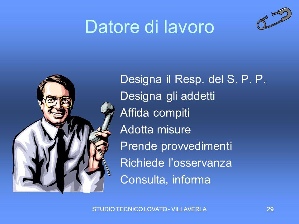 STUDIO TECNICO LOVATO - VILLAVERLA29 Datore di lavoro Designa il Resp. del S. P. P. Designa gli addetti Affida compiti Adotta misure Prende provvedime