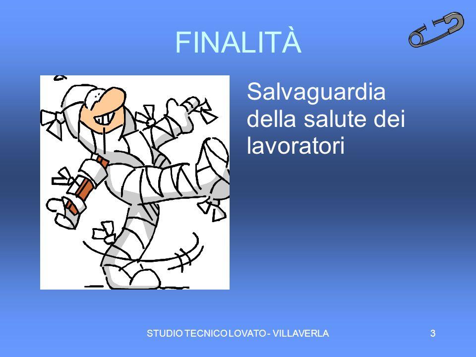 STUDIO TECNICO LOVATO - VILLAVERLA3 FINALITÀ Salvaguardia della salute dei lavoratori