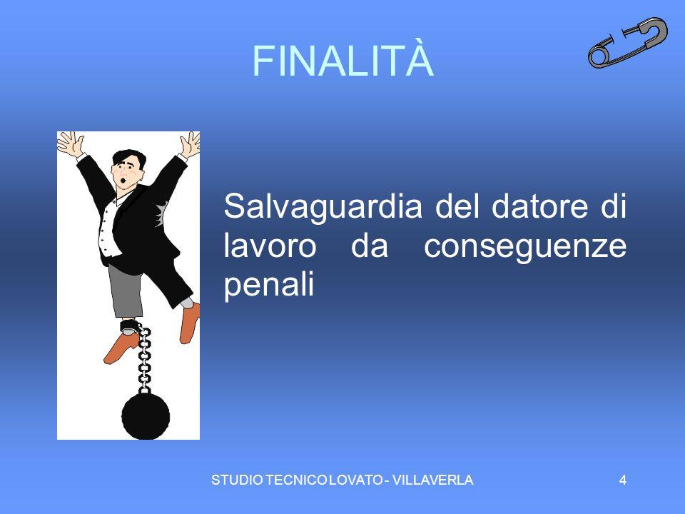 STUDIO TECNICO LOVATO - VILLAVERLA4 FINALITÀ Salvaguardia del datore di lavoro da conseguenze penali