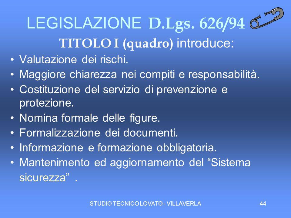 STUDIO TECNICO LOVATO - VILLAVERLA44 LEGISLAZIONE D.Lgs. 626/94 TITOLO I (quadro) introduce: Valutazione dei rischi. Maggiore chiarezza nei compiti e