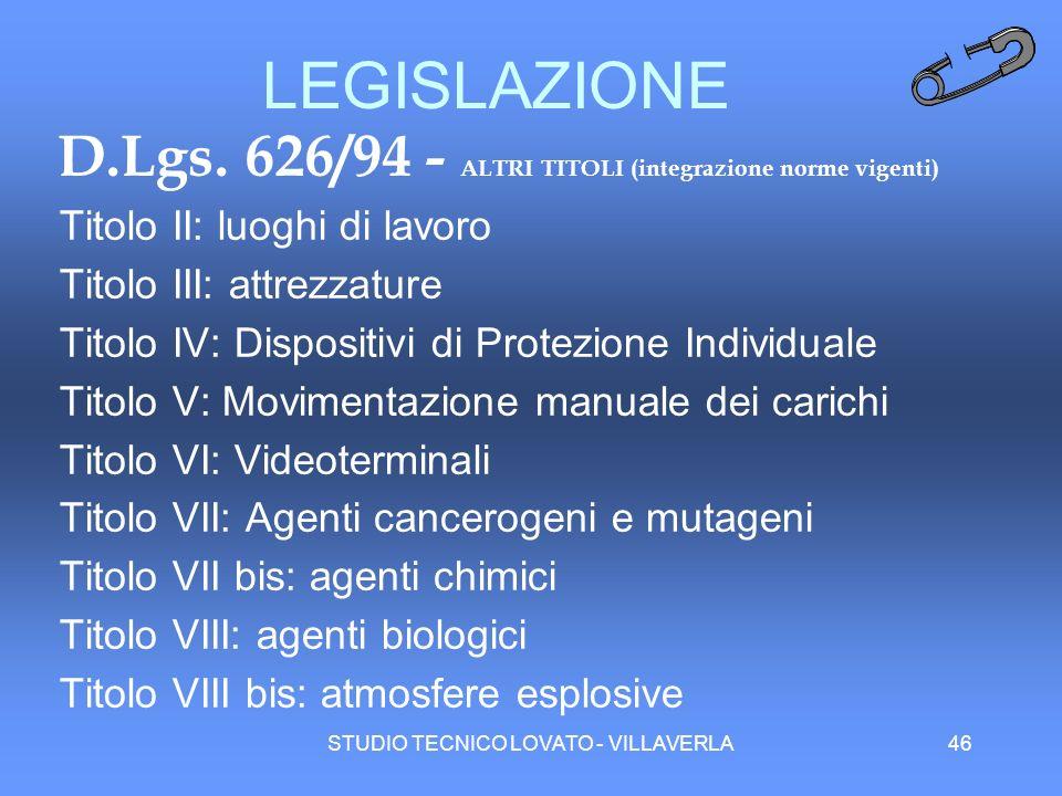 STUDIO TECNICO LOVATO - VILLAVERLA46 LEGISLAZIONE D.Lgs. 626/94 - ALTRI TITOLI (integrazione norme vigenti) Titolo II: luoghi di lavoro Titolo III: at